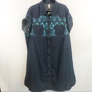 Roper Aztec Print Snap Front Chambray Denim Dress